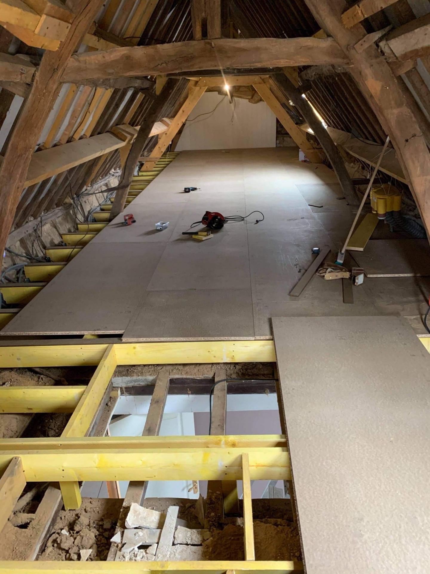 Solivage pose plancher bois plaquistes seine maritime 3